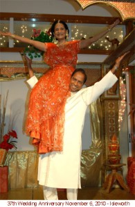 Dr. Usha Jain performing the Jayma move with Manohar Jain